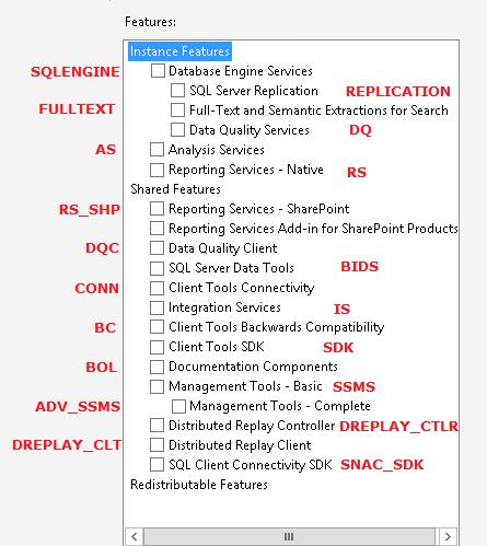 SQLInstalFeatureNames